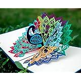 CUTPOPUP Peacock Card Pop Up, 3D Birthday Card Pop Up, Mother's Day Card Pop Up, Flower Card Pop Up For Grandma, Mom…