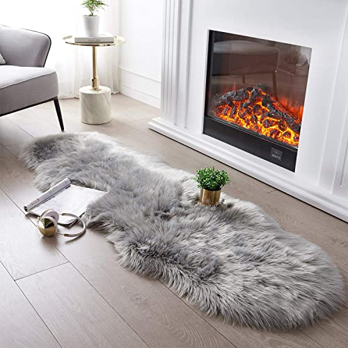 Ultra Soft Fluffy Rug Grey Faux Sheepskin Fur Area Rug Shaggy Couch Cover Seat Cushion Furry Carpet Beside Rug