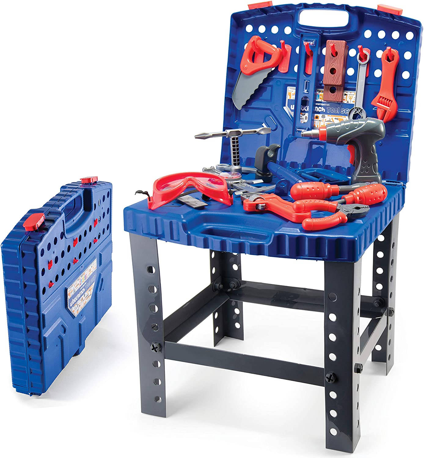 Play22 Kids Tool Workbench 78 Set - Kids Tool Set with Electronic Play Drill - STAM Educational Pretend Play Construction Workshop Tool Bench - Pretend Play Tool Set Build Your Own Kids Tool Box