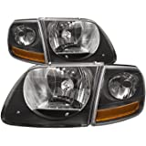Ford F-150 / Lightning SVT Harley Black OE Style Replacement Headlights Headl...