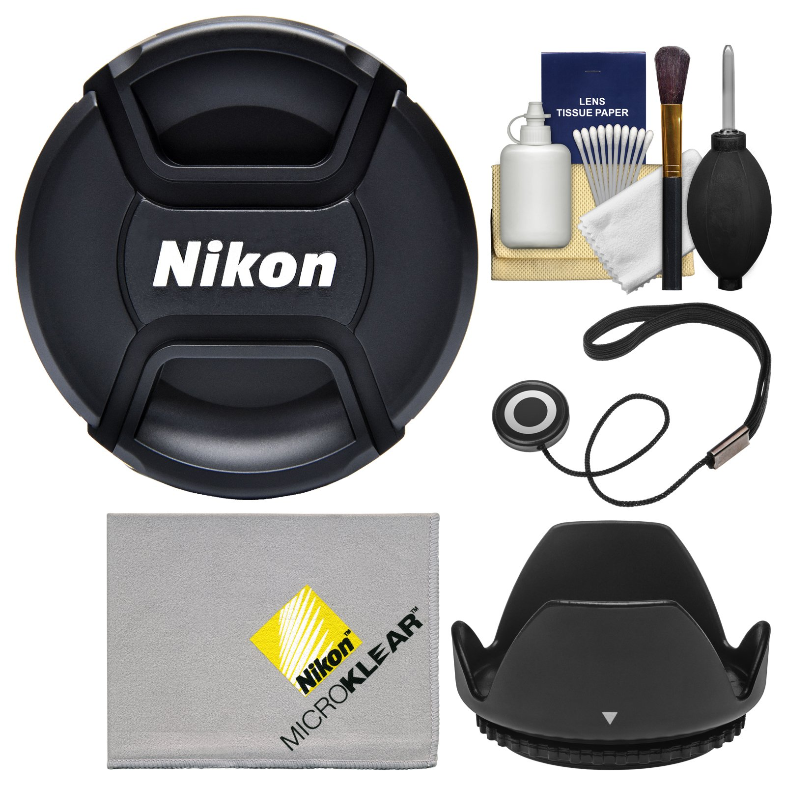 Nikon LC-77 77mm Snap-On Lens Cap with Lens Hood + Cap Keeper + Lens Cleaning Kit