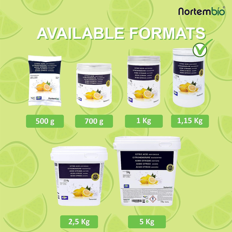 NortemBio Ácido Cítrico 1,15 Kg. Polvo Anhidro, 100% Puro. para Producción Ecológica. E-Book Incluido.