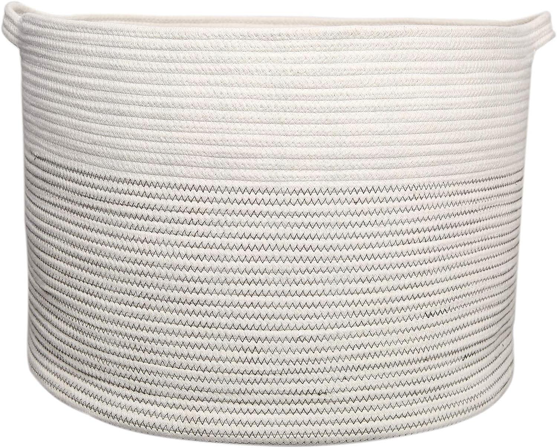 yukimocoo XXL Size - Large Woven Basket with Handles 20.8 x 20.8 x 14.5 inch, Laundry Basket, Storage Basket, Cotton Rope Basket, Woven Blanket Basket, Floor Basket Thread Laundry Hamper
