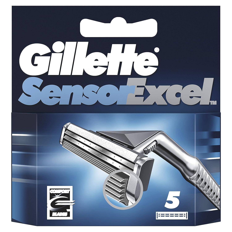 Gillette Sensor Excel Men's Razor Blade Refills, 5 Count, Mens Razors/Blades