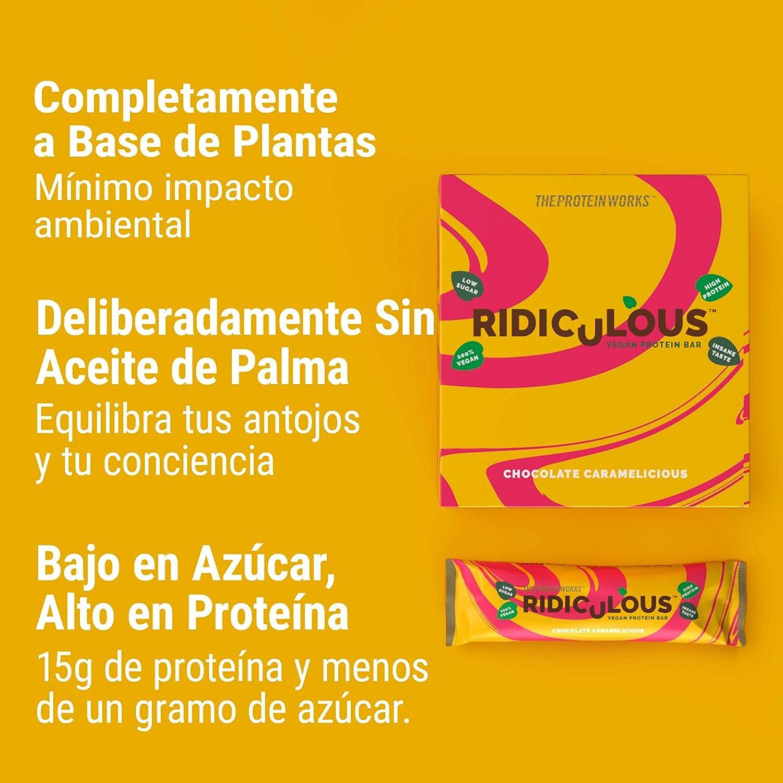 Barrita Proteica Vegana Ridiculous | 100% A Base de Plantas | Sin Aceite de Palma | 15g Proteína y Baja en Azúcar | THE PROTEIN WORKS | Cacahuete de ...