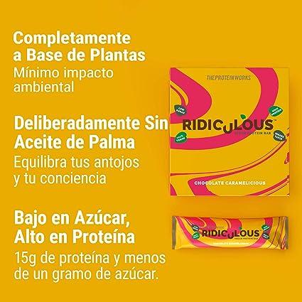 Barrita Proteica Vegana Ridiculous   100% A Base de Plantas   Sin Aceite de Palma   15g Proteína y Baja en Azúcar   THE PROTEIN WORKS   Cacahuete de ...