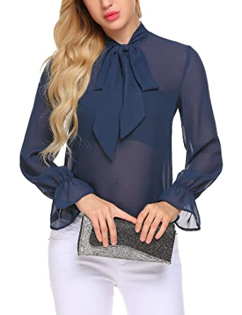 aa39b549c8db9d Hersife Women Bowknot See Through Blouse Chiffon Lightweight Top Shirt Navy  Blue