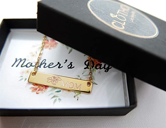 Personalized Name Flowers Bar Classic Necklace For Mothers Day Grandmother Auntie Birthday Gifts Engraved Dainty Jewelry