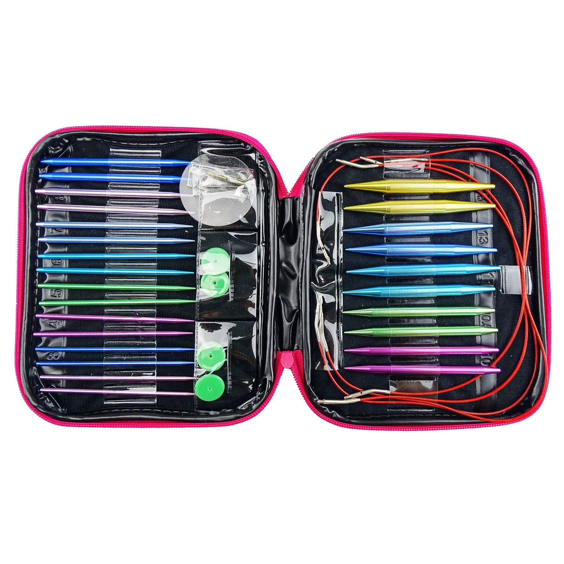 Hanperal 13pcs Aluminum Circular Knitting Needles Set, Interchangeable Needles Set for Handmade Knitting Sweater, Scarf