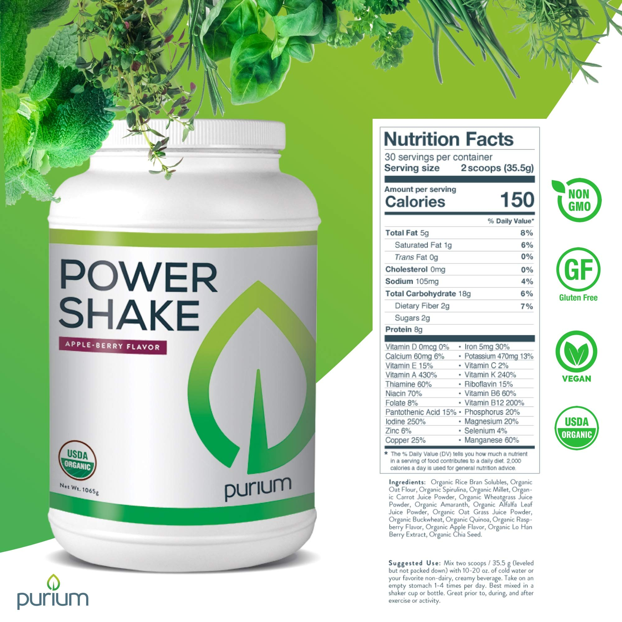 Purium Power Shake - Apple Berry Flavor - 1065 grams - Vegan Meal Replacement Powder, Protein, Vitamins & Minerals - Certified USDA Organic, Gluten Free, Kosher - 30 Servings by Purium (Image #4)