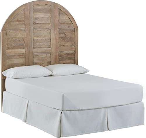 Stone Beam Arced Rustic King Bed Headboard with Raised Panels - Queen, 64 Inch, New Whitewash