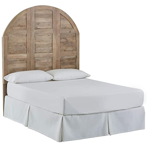 Stone Beam Arced Rustic King Bed Headboard with Raised Panels – King, 79 Inch, New Whitewash
