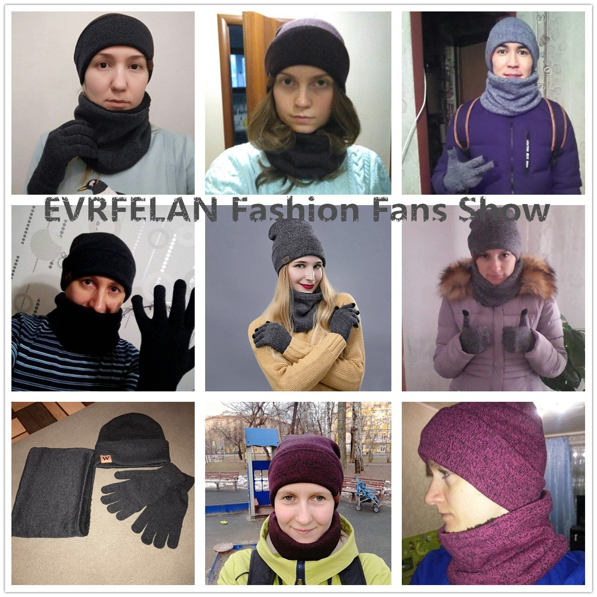 EVRFELAN Winter Warm Hat Beanie thick infinity Scarf Smart Touch screen Texting Gloves (Black) by EVRFELAN (Image #7)