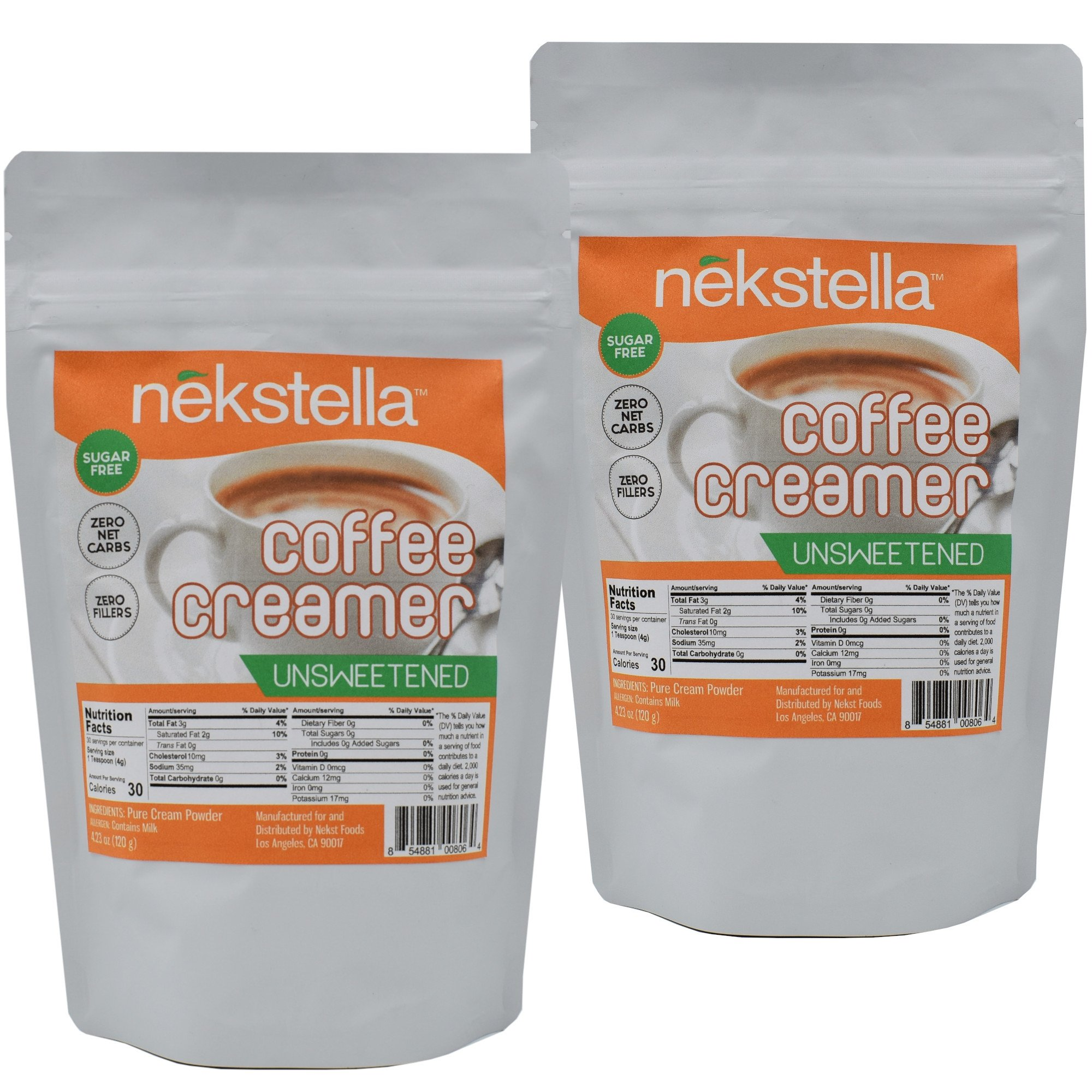 Nekstella Unsweetened, Pure Cream, (2 Pack) Zero Net Carbs, Zero Fillers Coffee Creamer