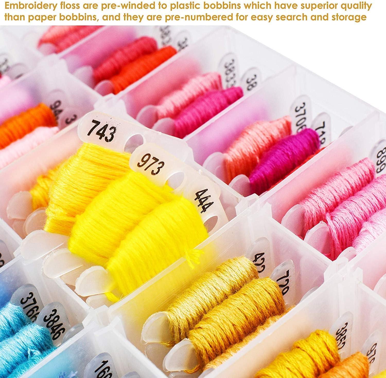 Stickerei WeeDee Stickgarn 100 Farben mit Aufbewahrungsbox Embroidery Floss Weicher Baumwolle mit Sticknadel Werkzeugsatz Perfekt f/ür Freundschaftsb/änder Kreuzstich