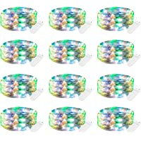 12 Pack Fairy Lights Battery Operated, 7Ft 20 LED Waterproof Mini Firefly String Lights with Flexible Silver Wire for…