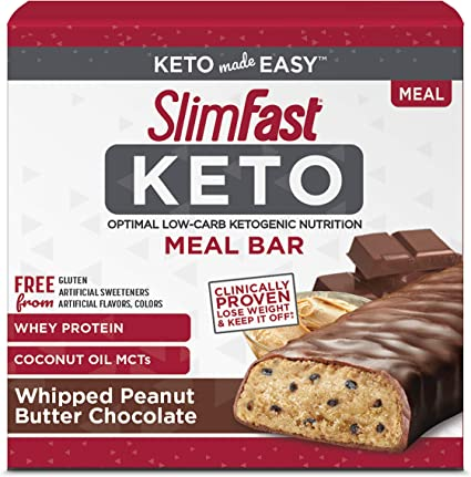 Slimfast Keto Meal Replacement Bar Whipped Peanut Butter Chocolate 5 Count Per Pack 7 4 Ounce