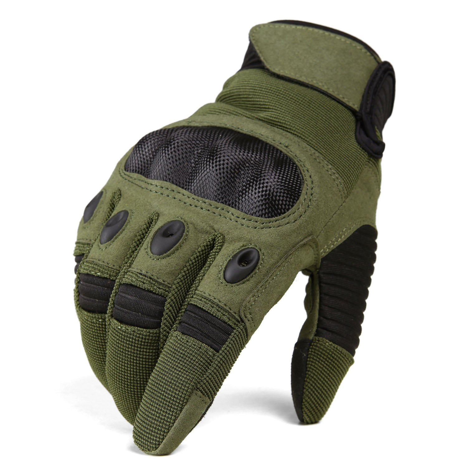 TACVASEN Men's Military Special Ops Full Finger Tactical Gloves for Motorcycle Cycling Riding Hunting Hiking Army Green