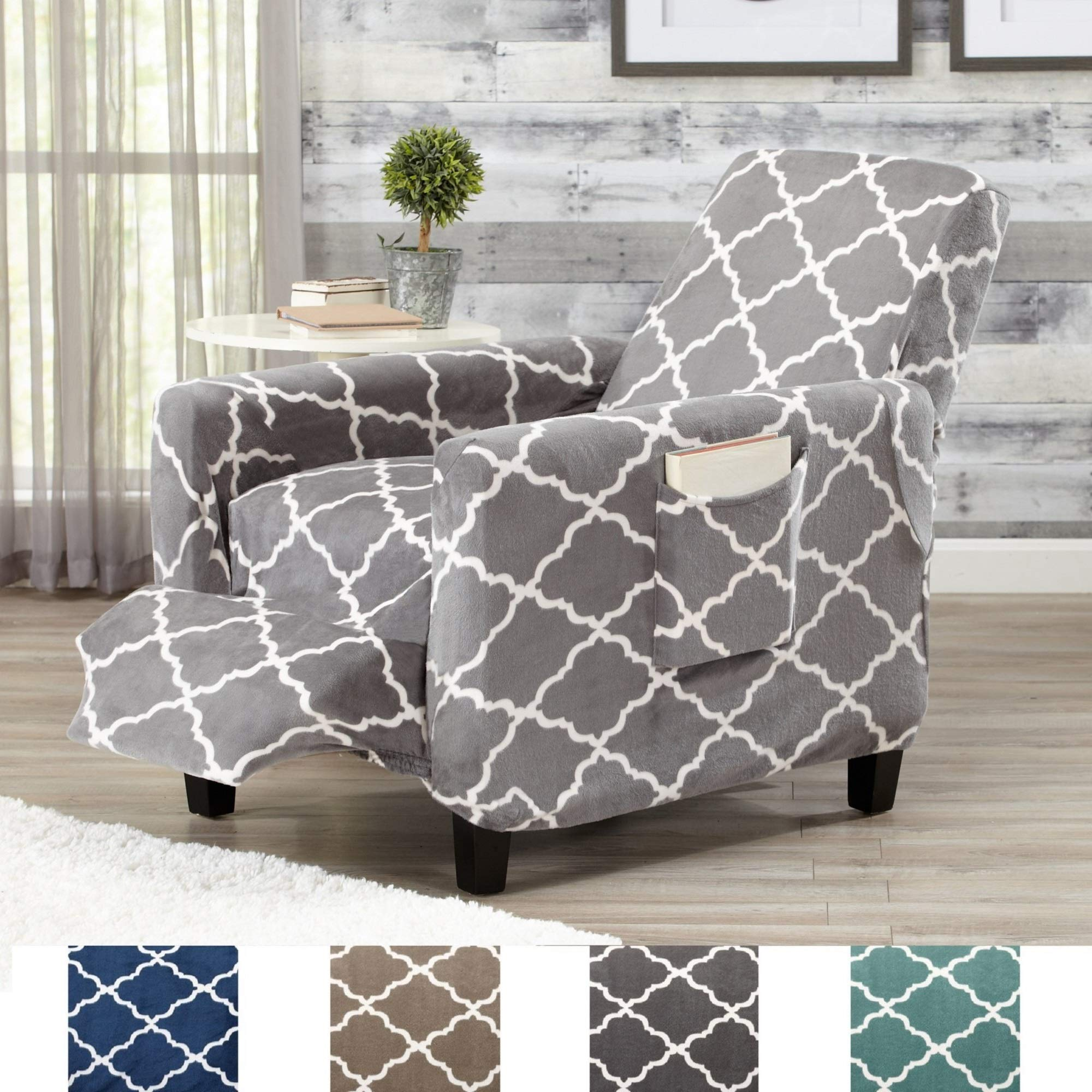 Great Bay Home Modern Velvet Plush Strapless Slipcover. Form Fit Stretch, Stylish Furniture Shield/Protector. Magnolia Collection Strapless Slipcover by Brand. (Recliner, Grey)