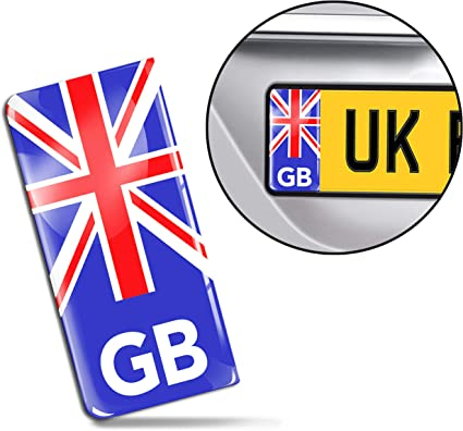 SkinoEu® 2 x 3D Gel Silicona Stickers Pegatinas para Placa de Matrícula UE Bandera Nacional del Reino Unido UK GB Union Jack Adhesivo Autos Coches Motos Ciclomotores QS 1: Amazon.es: Coche y