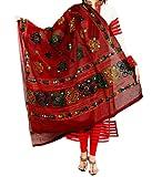 Women'S Cotton Embroidery & Mirror Work Dupatta Multi Color Stoles & Dupattas