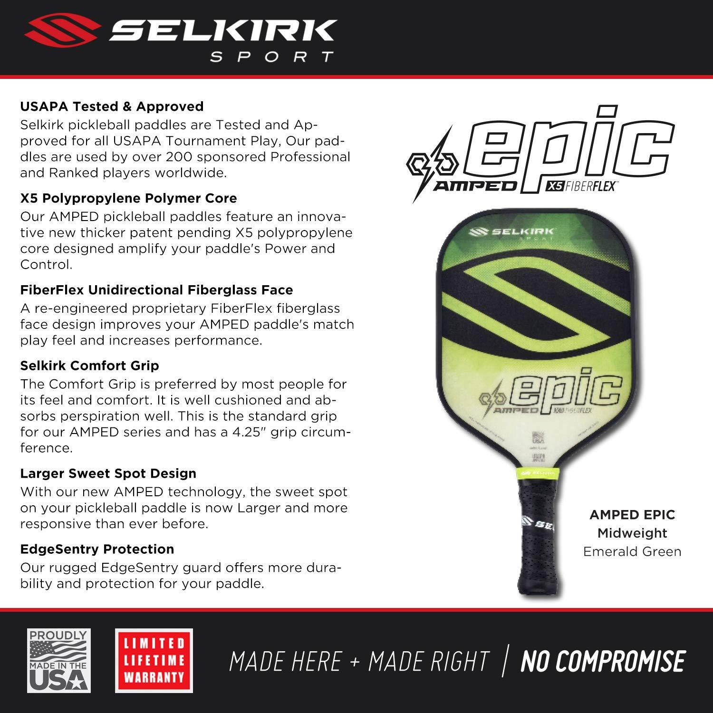 Maxima 5 Sizes: Epic Selkirk Amped Pickleball Paddle USAPA Approved and INVIKTA S2 X5 Polypropylene Core Omni FiberFlex Fiberglass Face