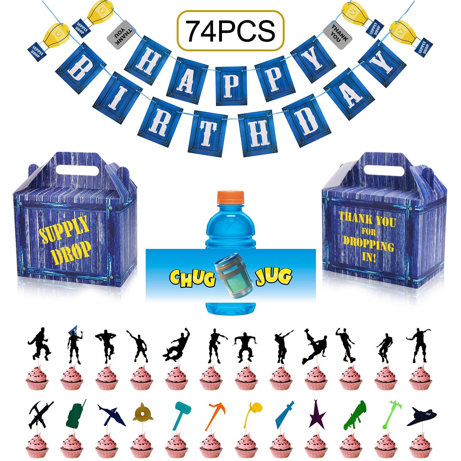 Birthday Party Supplies Set for Game Themed-Including 24 Chug Jug Bottle Labels,24 Game Party Drop Box,24 Cupcake Toppers(24 Styles),1 Birthday Party Banner