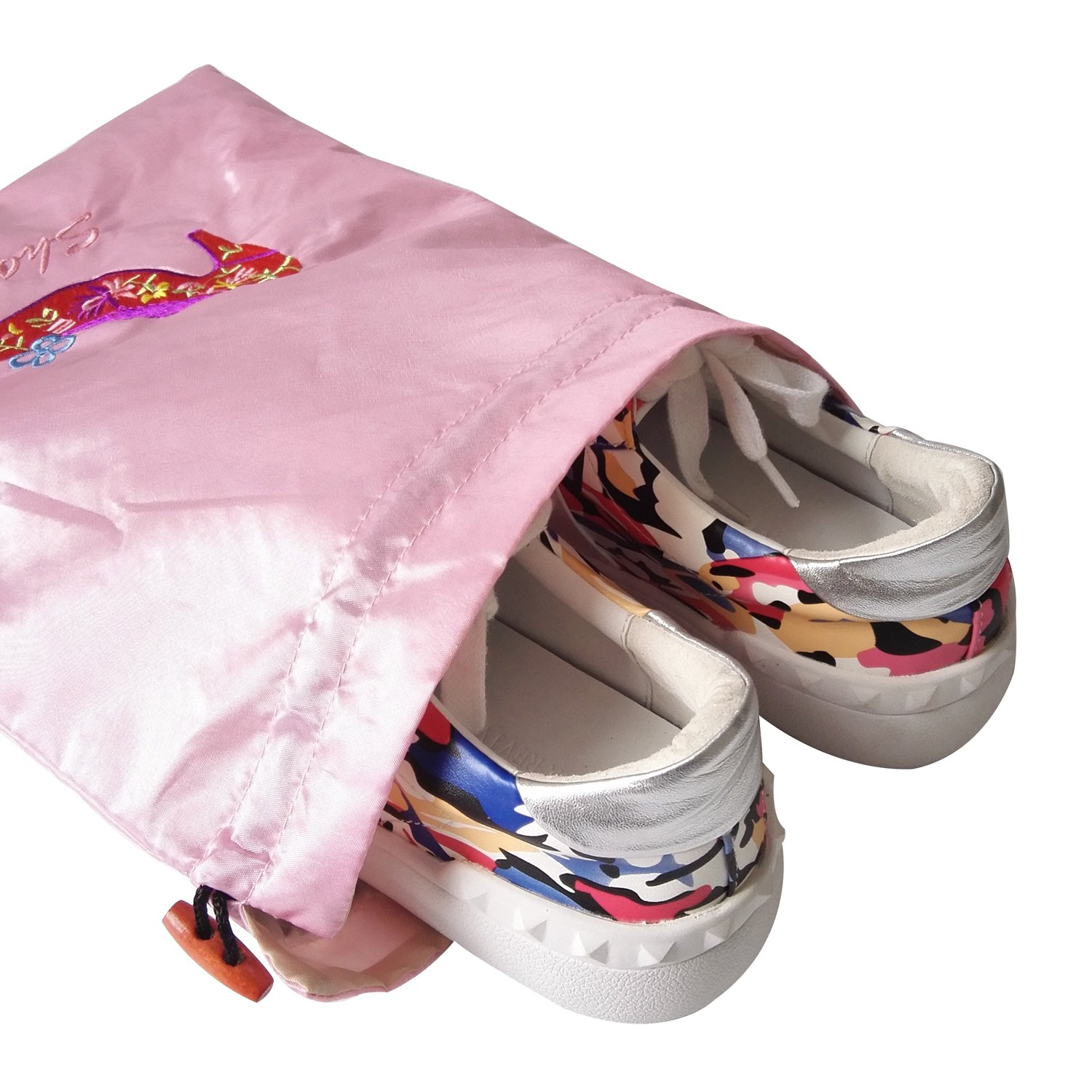 Gold Fortune 3 Packs 10.5'' x 14'' (L x W) Embroidered Silk Jacquard Travel Lingerie and Shoes Bags with Drawstring Closure (Pink) by Gold Fortune (Image #2)