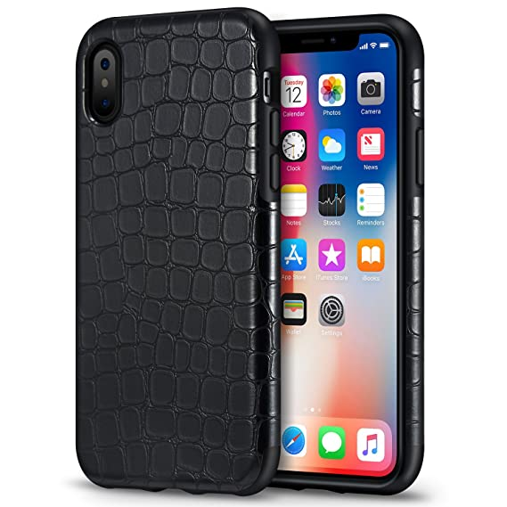 newest b892e 4608e Mthinkor Compatible with iPhone Xs Case, iPhone X Case Crocodile Leather  Design Heavy Duty Drop Protection Shockproof Case (Black)