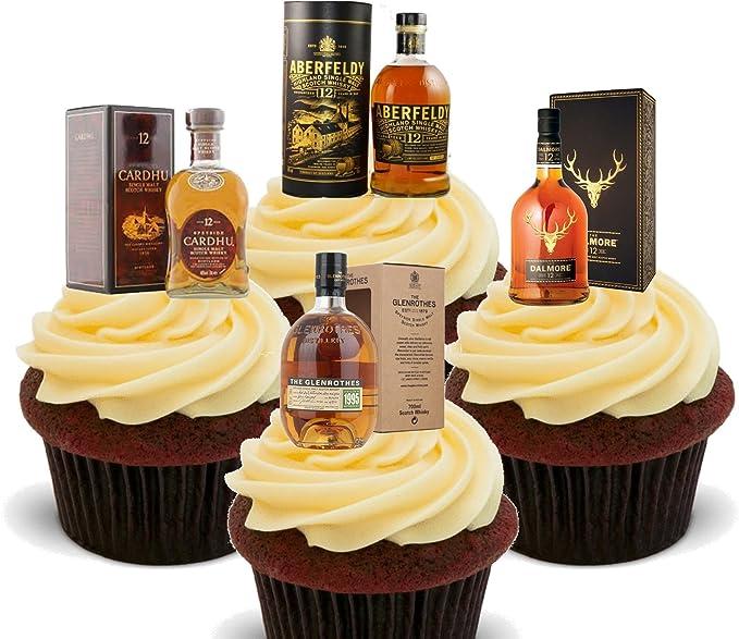 Made4You Decoración comestible para cupcakes con mezcla de whisky de malta (24 unidades)