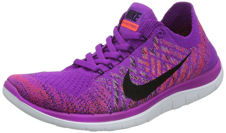 Amazon.com | Nike Free 4.0 Flyknit Women's Running Shoes, 9, VIVID PURPLE/BLACK-FCHS  GLOW | Running