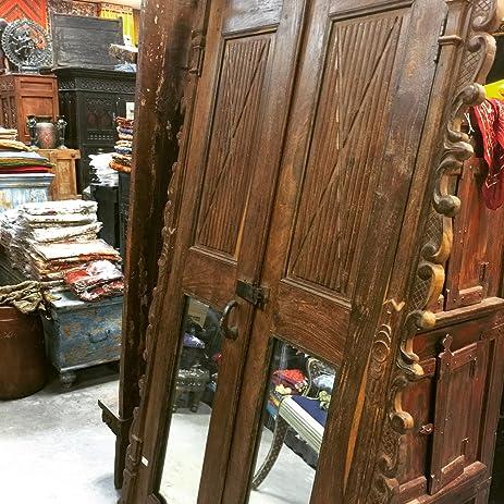 Antique Indian Closet Door Set Mirror Carved Teak Wood Doors Frame - Amazon.com: Antique Indian Closet Door Set Mirror Carved Teak Wood