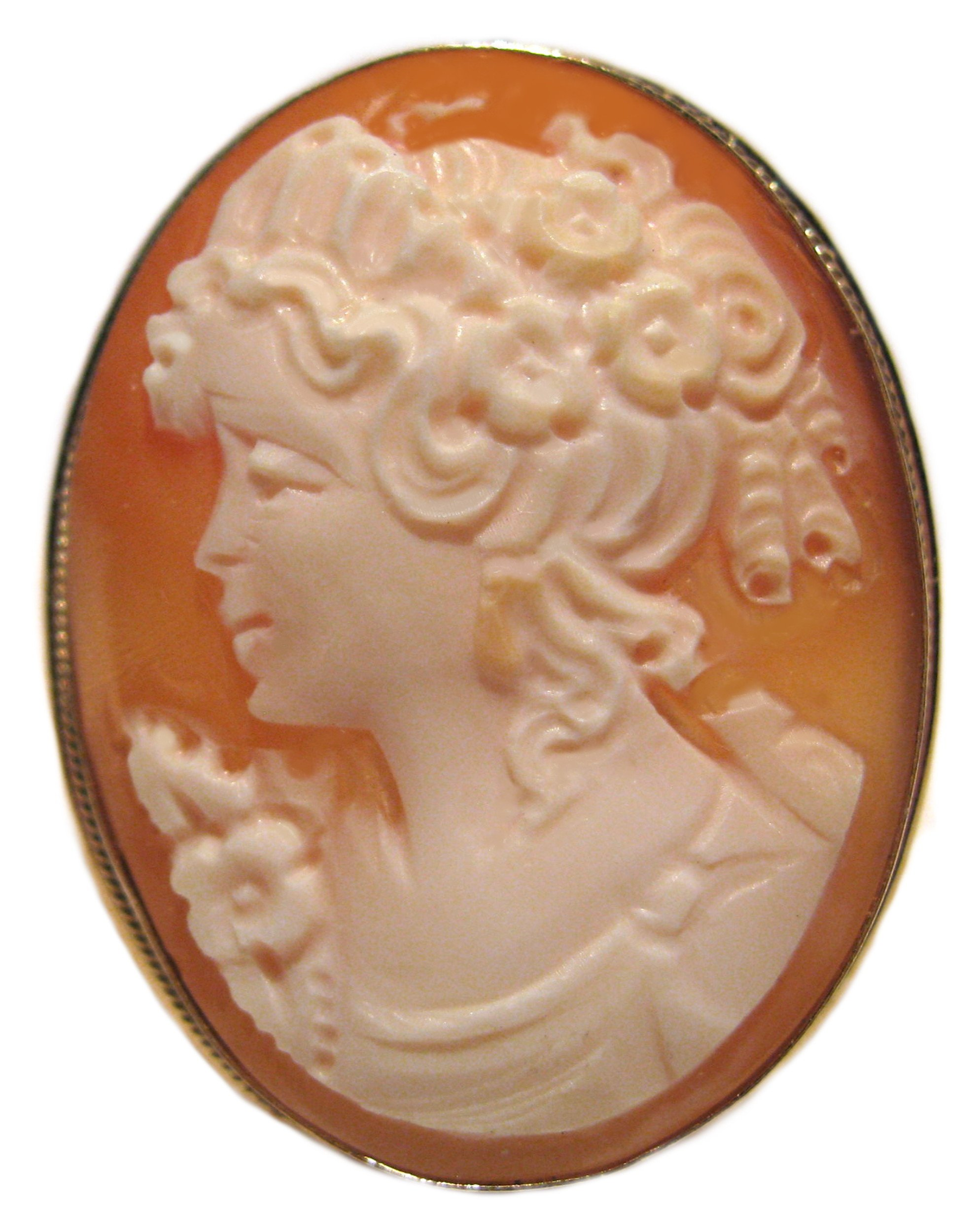 Cameo, Master Carved, Summer Dream Pin Pendant Brooch Sterling Silver Carnelian Shell Italian