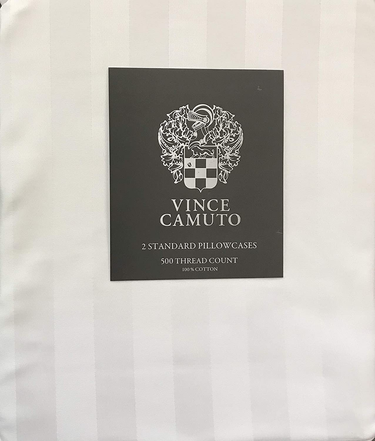 Vince Camuto 500 Thread Count 100% Cotton Standard Pillowcases (Set of 2, White Stripe)