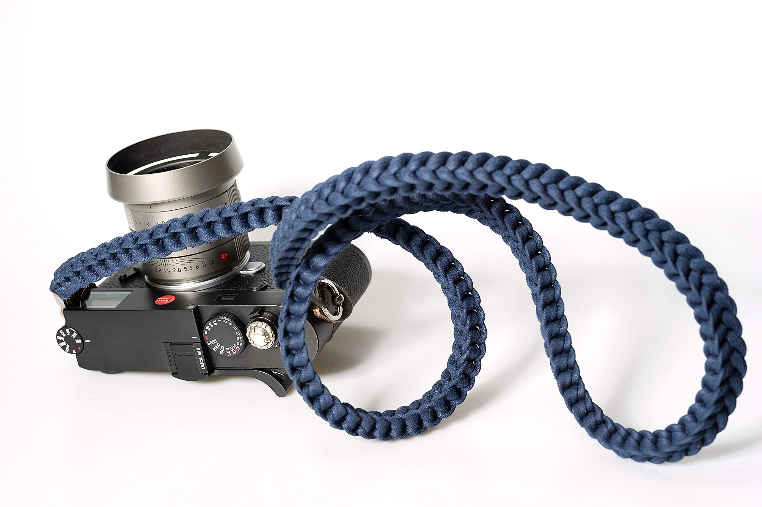 Barton 1972 Designer Braided Canvas Dark Blue Military Camera Neck Strap Lint Free Cotton 42'' Long w/Carry Bag Leica Sony Fuji Olympus Nikon