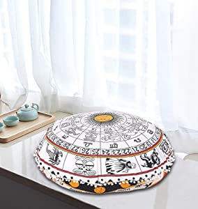 Astrology Horoscope Indian Floor Pillow Cushion Meditation Seating Ottoman Throw Home Decor Sun Moon Virgo Stars Sign Zodiac Symbol Celestial Boho Mandala Hippie Round Sham Pouf Cases (Cover Only)
