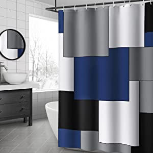 YellyHommy Mid Century Modern Shower Curtain Navy Blue and Gray Bathroom Accessories Decor Black Shower Curtain Set with 12 Hooks 72x72 Inches