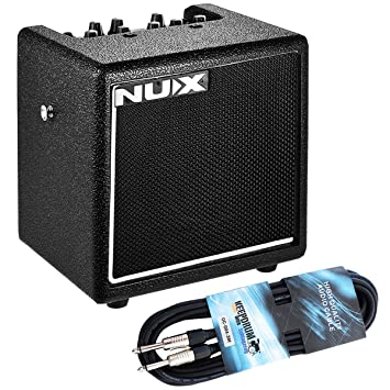 Nux Mighty 8SE Reproductor de guitarra Amplificador + Keepdrum Jack de Cable 3 m