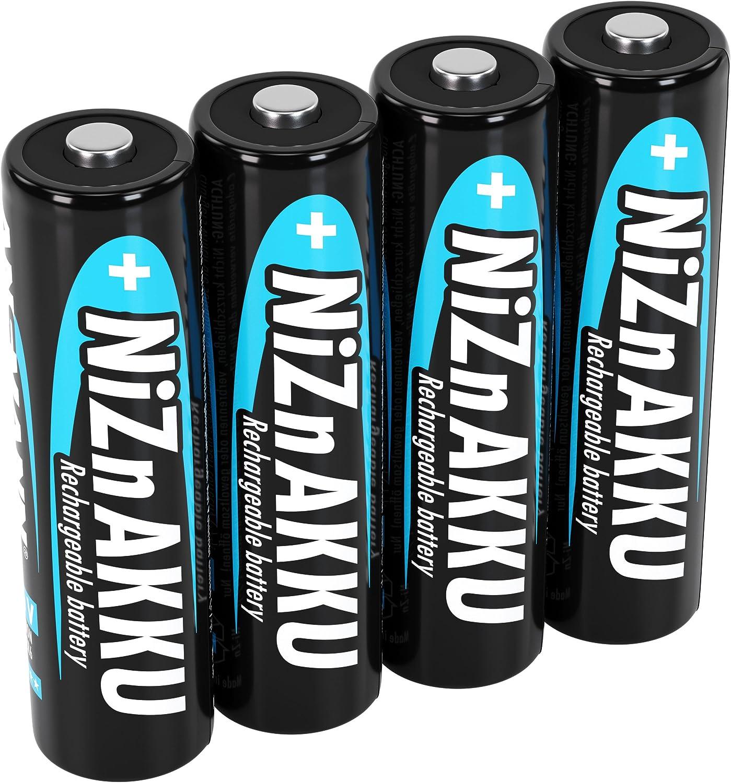 ANSMANN Pack de 4 pilas recargables AA Níquel-Zinc - De 1.6V y 2500mWh - Sin efecto memoria - Carga rápida - Para aparatos de alto consumo