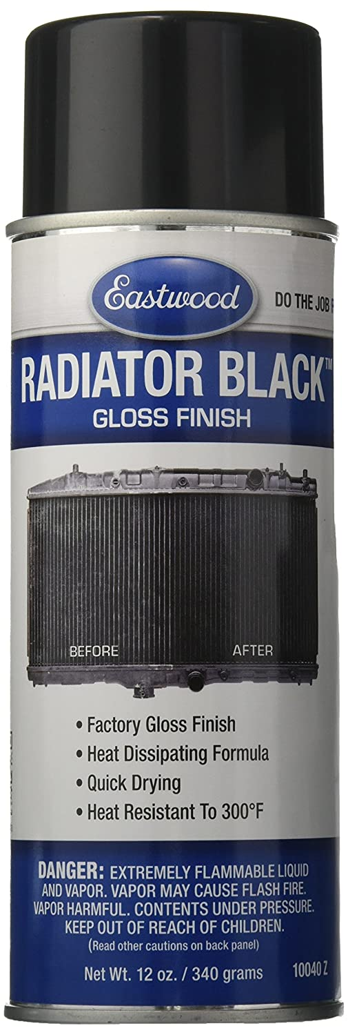 Eastwood Radiator Black Gloss Finish Aerosol 340g heat resistant specifically formulated for your radiator, heater core and air conditioning condenser 10040Z