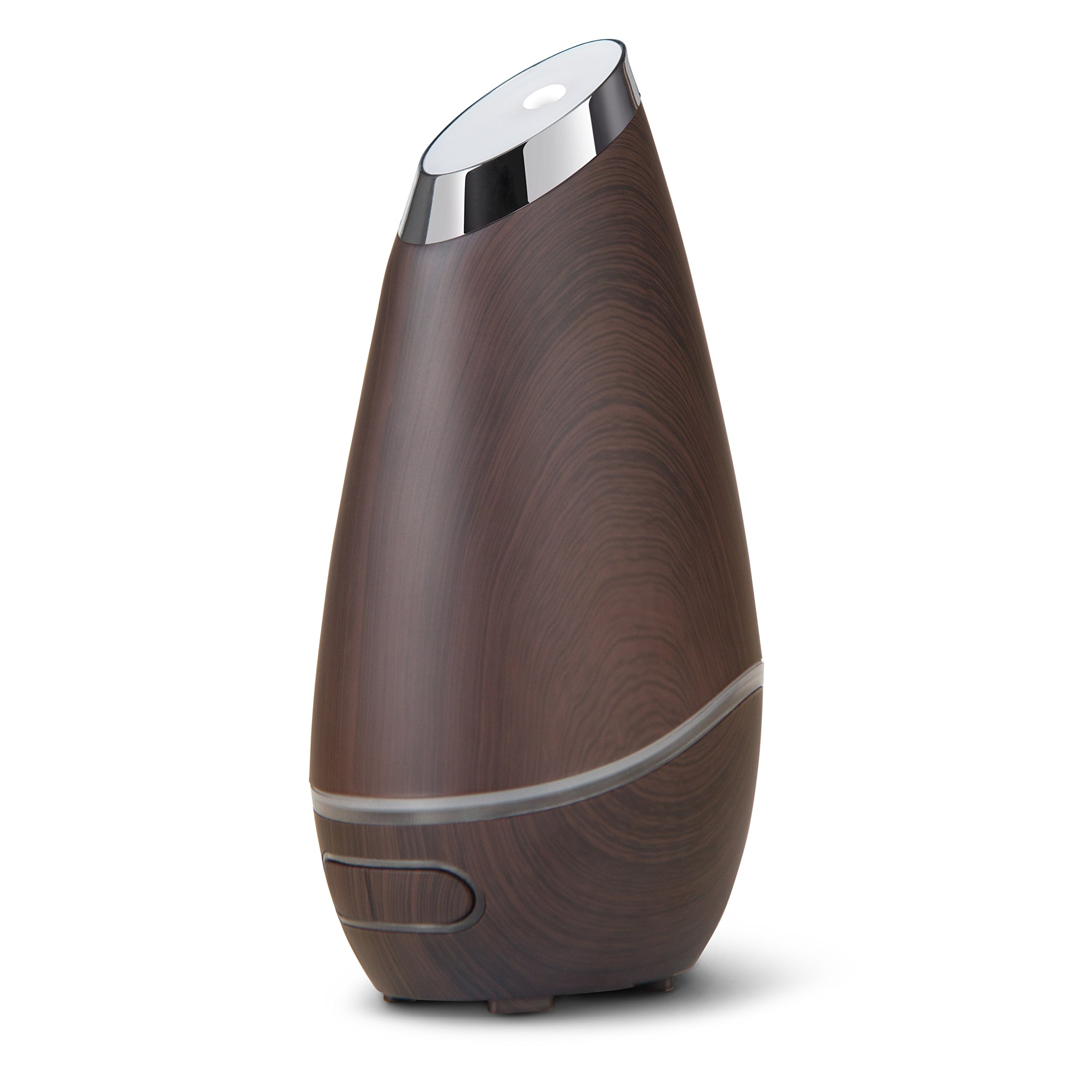 SmartMist Aromatherapy Essential Oil Diffuser - Modern Wood Finish, Auto Shut-off, LED Lights, 3 Mist Settings for Aroma - Ultrasonic Cool Air Purifier Humidifier for Room