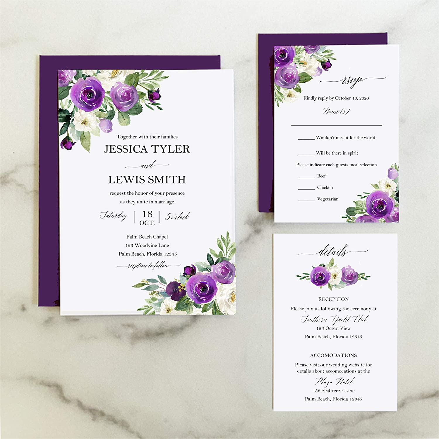 Amazon.com: Purple Floral Wedding Invitation Suite with ANY wording printed  – Elegant Floral in Purple Collection: Handmade