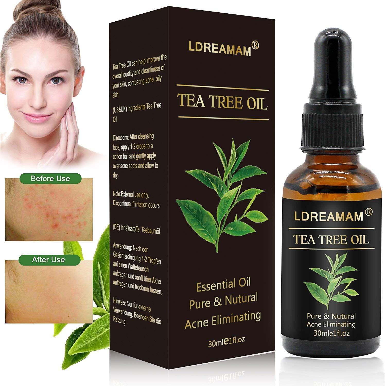 Aceite Esencial de Árbol,Aceite esencial de árbol de té,Tea Tree Essential Oil,Para masaje,Alivia las irritaciones comunes de la piel, la piel seca y agrietada, las cutículas y las espinillas, anti-acné LDREAMAM