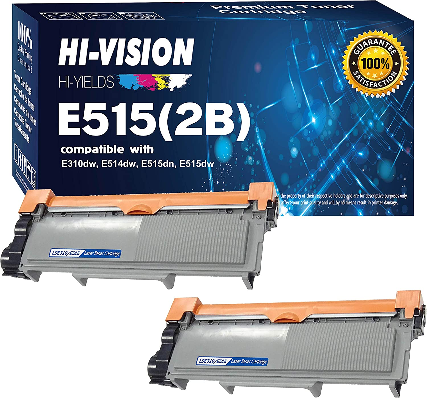 HI-Vision 2 Pack Compatible 593-BBKD (PVTHG) Toner Cartridge Replacement for Dell E310dw E514dw E515dw E515dn