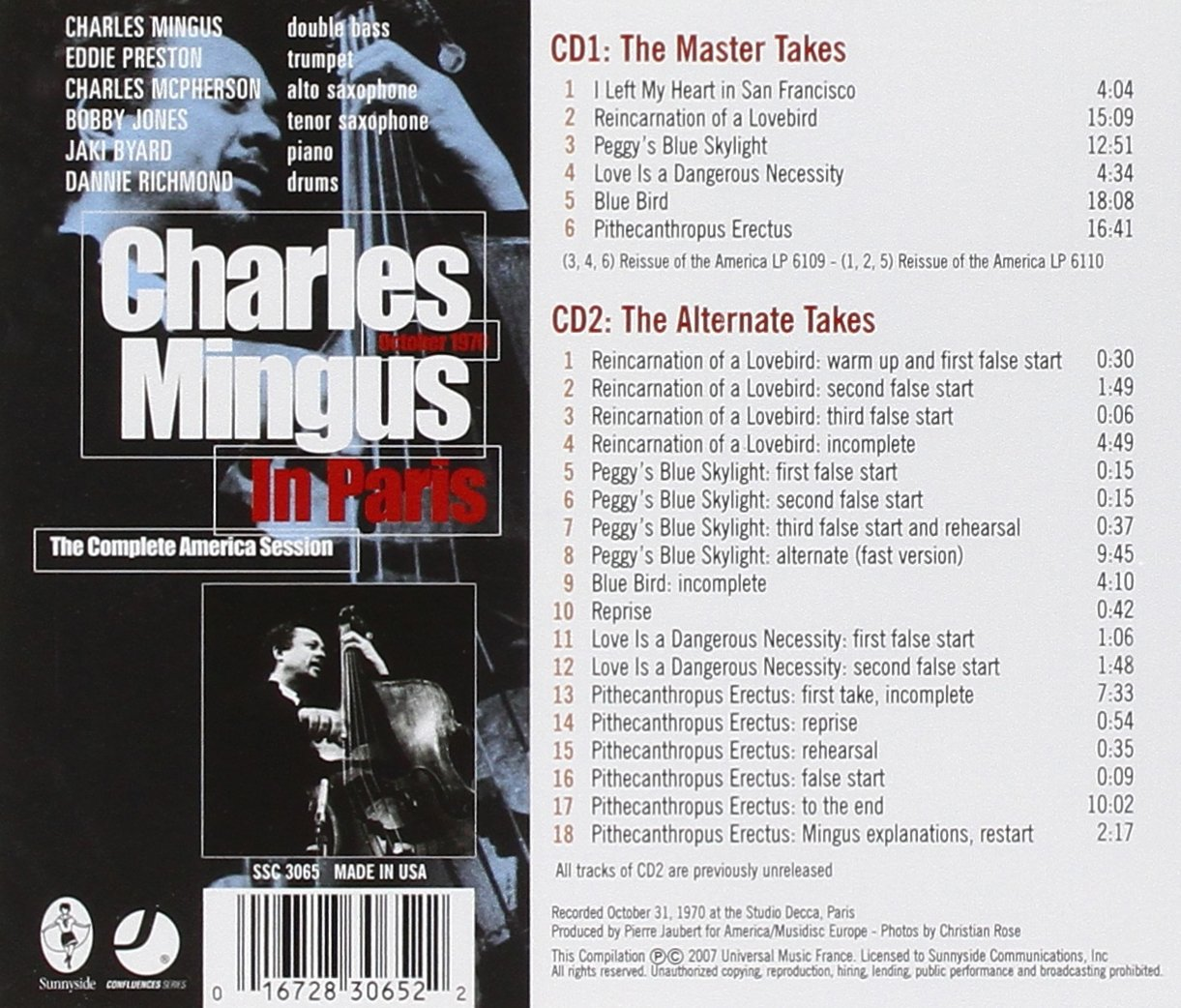 Charles Mingus In Paris The Complete America Session by Sunny Side