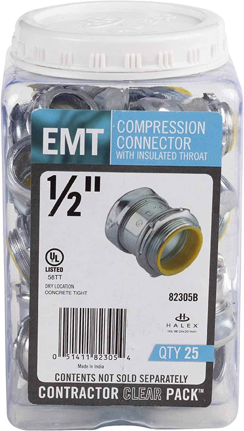 Halex Electrical Metallic Tube 3 per pack Compression Connectors with Insulated Throats 28232 EMT 3//4 in