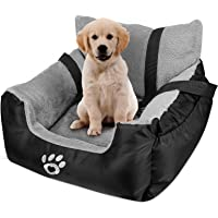 Black Holdfiturn Pet Car Booster Seat Breathable Waterproof Dog Cat Booster Seat Cover Protector Pet Travel Carrier Bag with Safety Leash for Small and Medium Dog and Cat