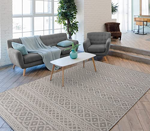 RUGBUGGERY Indoor Outdoor Anti-Fade Moroccan Panel Area Rug 8'x10' Silver Grey