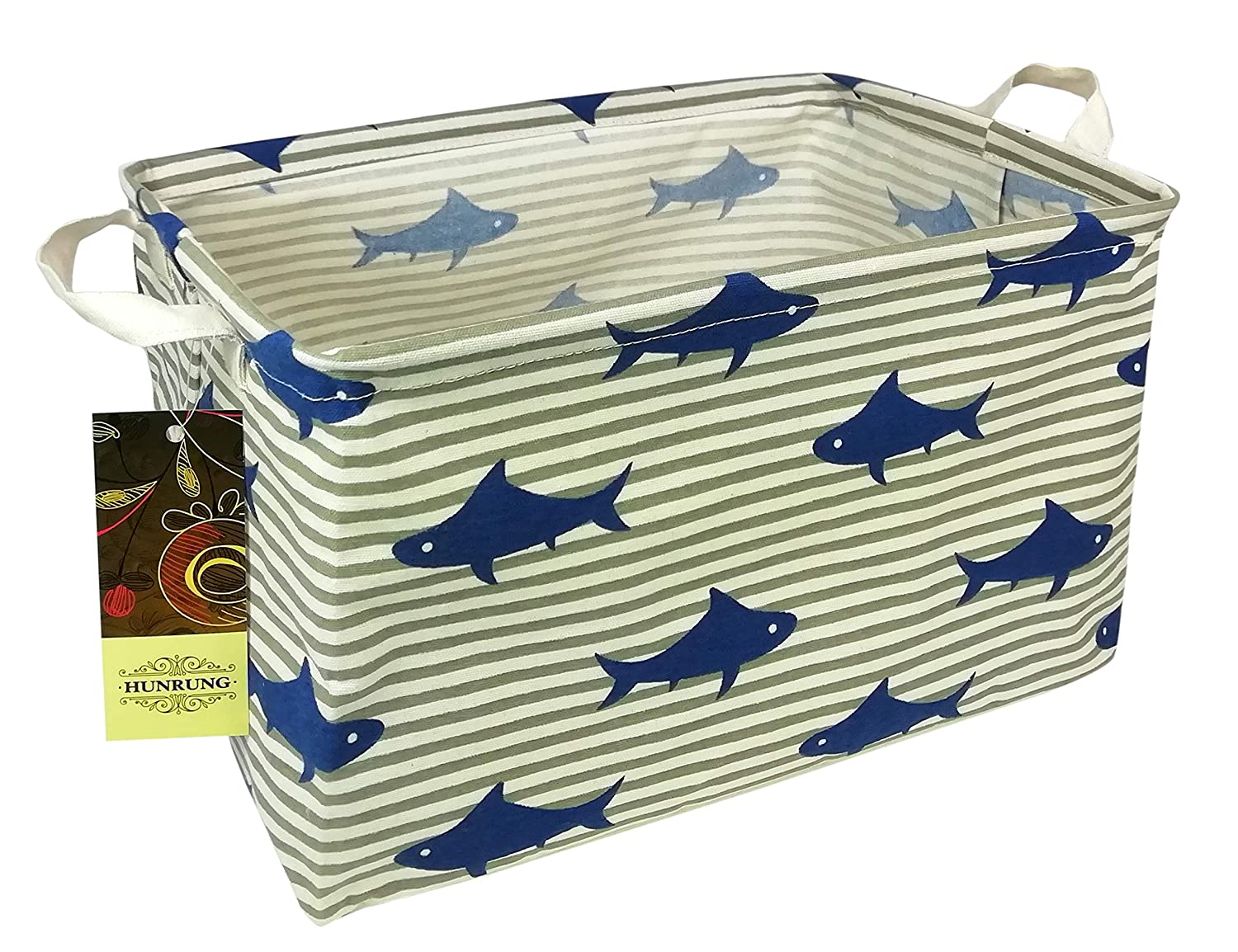 HUNRUNG Rectangle Storage Basket Cute for Pet/Kids Toys, Books, Clothes - Perfect for Kid Rooms/Playroom/Shelves (Shark)