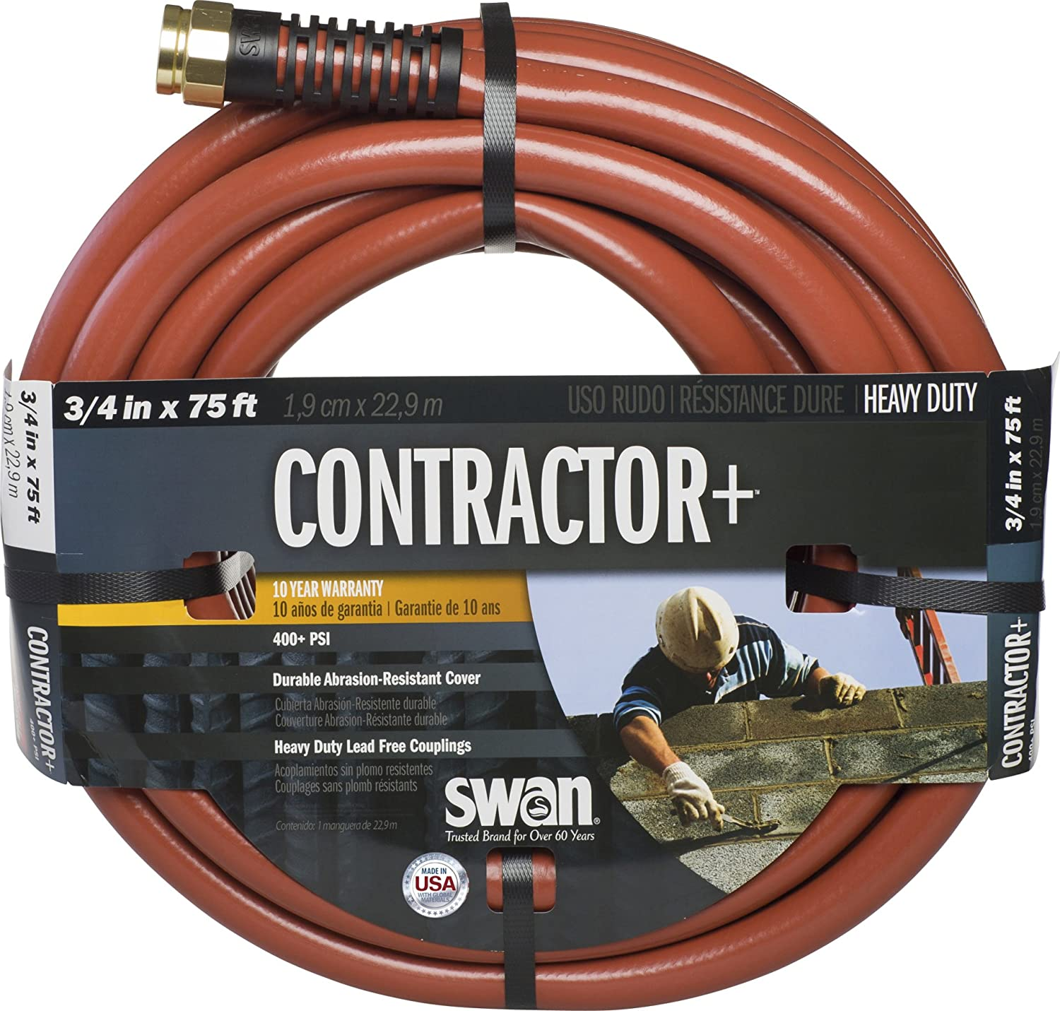 Swan Products SNCG34075 CONTRACTOR+ Commercial Duty Clay Water Hose with Crush Proof Couplings 75' x 3/4